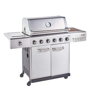 Jupiter 6 Burner Hybrid with Chopping Board - Stainless Steel