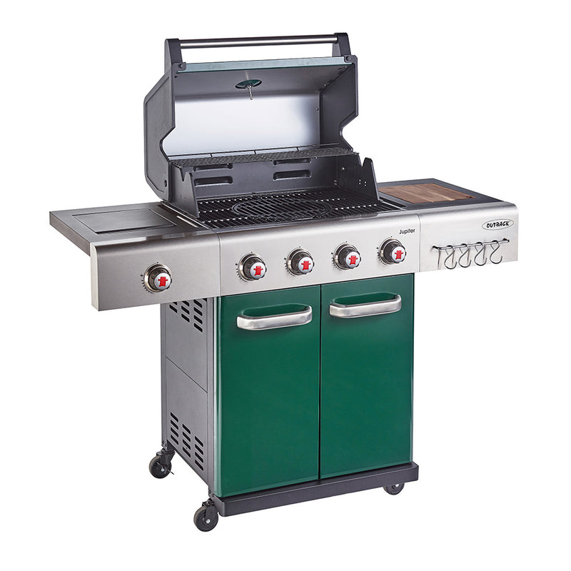 Jupiter 4 Burner Hybrid with Chopping Board - Green
