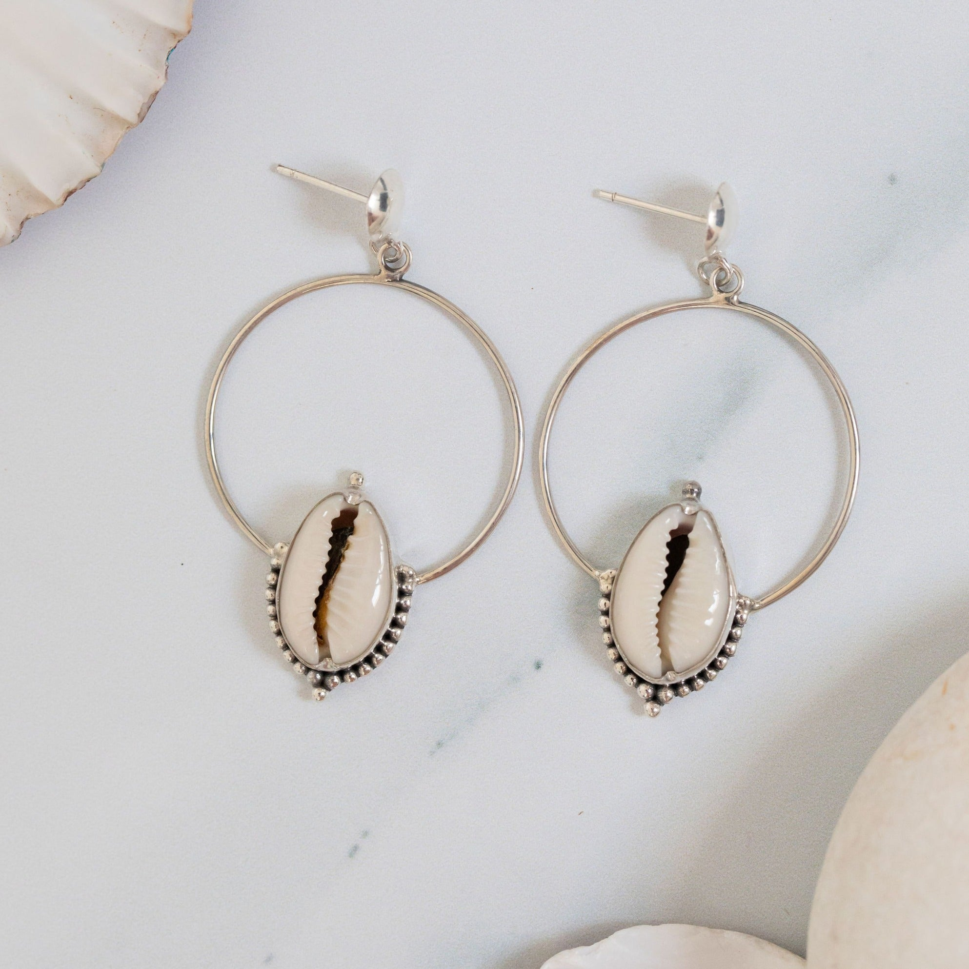 Cowrie sands hoop earrings