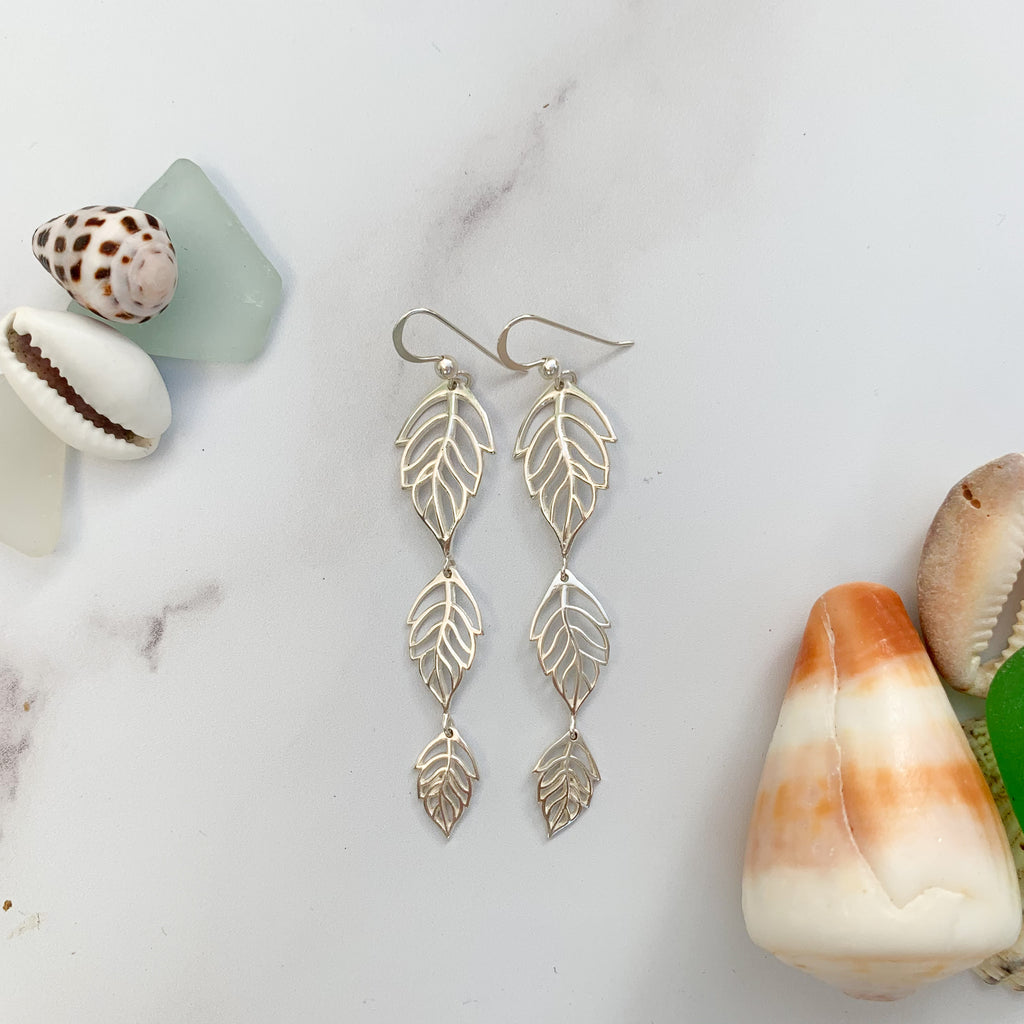 Silver leaf monstera earrings