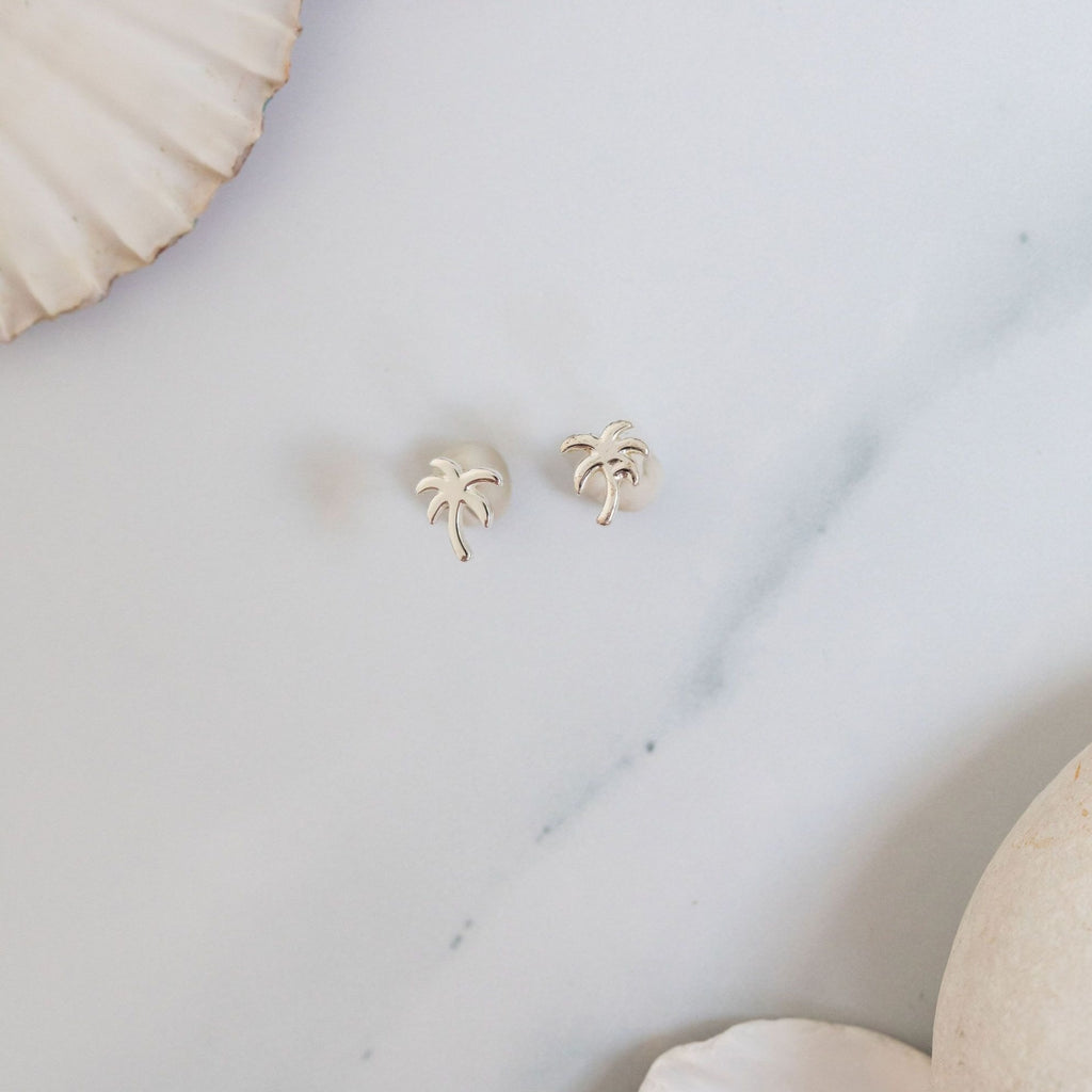 Silver palms stud earrings