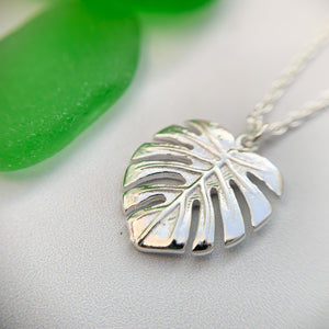 Monstera silver leaf necklace