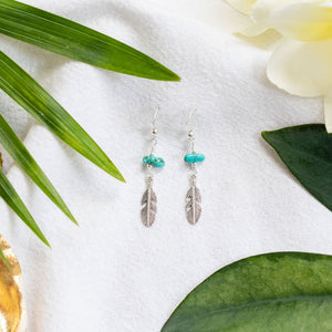Falling feather turquoise earrings