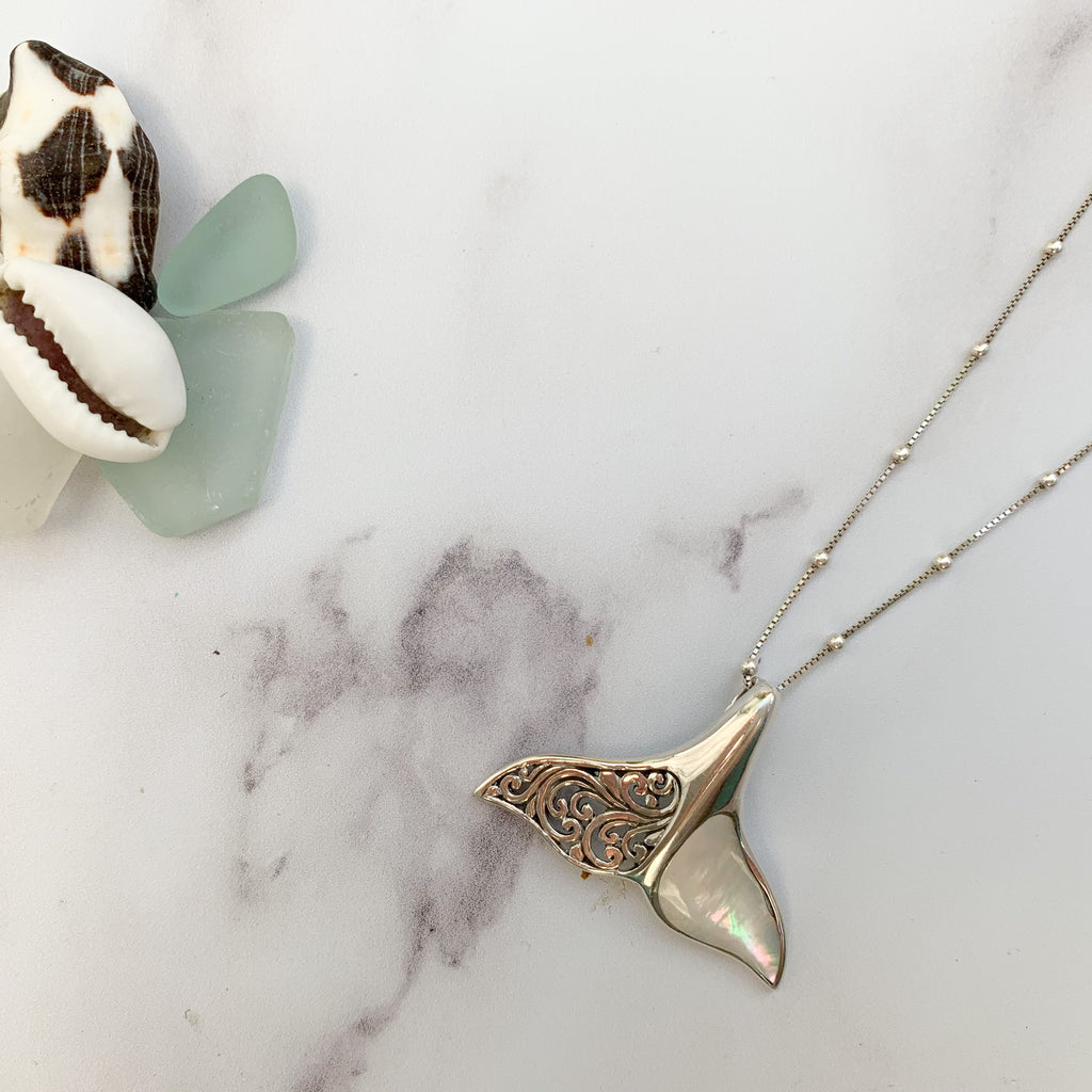Dancing Ocean Whales pearl necklace