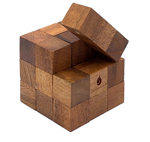 Snake Cube: Handmade & Organic Twisty 3D Brainteaser Wooden Puzzle for Adults from SiamMandalay with SM Gift Box(Pictured)
