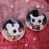 Clown mouse and clown cat, wall hoop - Dessin Design