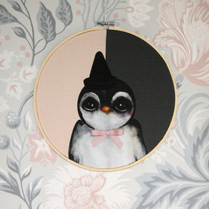 Penguin, pink - Big, wall hoop - Dessin Design