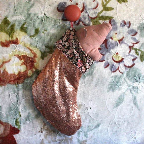 Christmas stocking - Peach sequins - Dessin Design