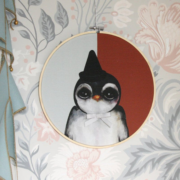 Penguin, blue - Big, wall hoop - Dessin Design
