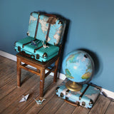 Vintage map suitcase - Dessin Design