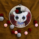 Clown cat, red, wall hoop - Dessin Design