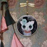 Clown cat, mint flower, wall hoop - Dessin Design