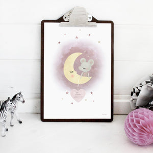 Mouse on the moon, name poster, Dessin Design