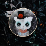 Clown cat, mint pom pom, wall hoop - Dessin Design