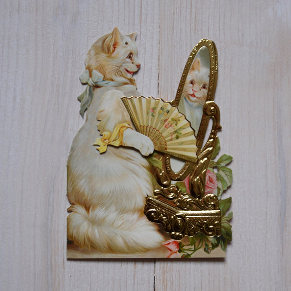 3D card - cat in mirror