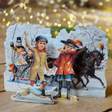 3D Christmas card - horse and carriage - Dessin Design