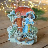 Vintage Christmas card - umbrella - Dessin Design