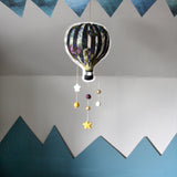 Flowery aqua hot air balloon, mobile - Dessin Design