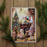 Glittery vintage advent calendar - Santa and kids - Dessin Design