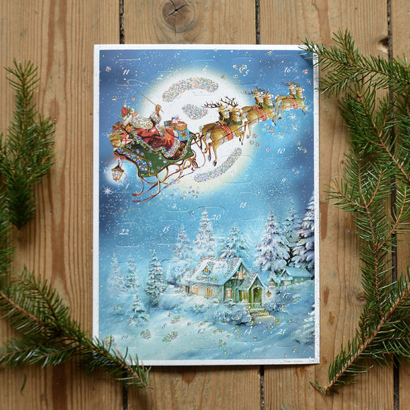 Glittery vintage advent calendar - Santa with sleigh - Dessin Design