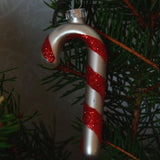 Christmas bauble - candy cane, silver - Dessin Design