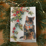 Vintage christmas card - cat - Dessin Design