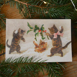 Vintage christmas card - cats - Dessin Design