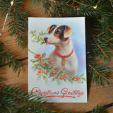 Vintage christmas card - dog - Dessin Design