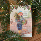 Vintage style christmas card, boy - Dessin Design