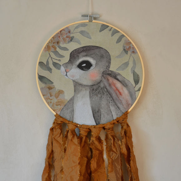 Wall hoop; Bunny portrait - brown - Dessin Design