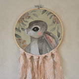 Wall hoop; Bunny portrait - peach - Dessin Design