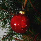 Christmas bauble - red with white dots - Dessign Design