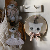 Jumping Jack, Brown bunnies, and wall hoop Bowie cat, beige - Dessin Design