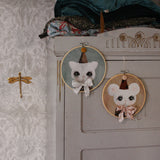 Wall hoops - Bowie mouse, cream, and cat, blue - Dessin Design