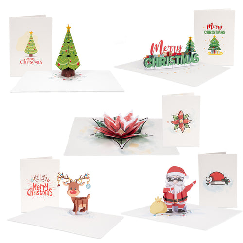 Christmas pop-up Note Cards, Assorted 5 Pack | 3.5