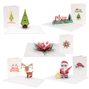 "Christmas pop-up Note Cards, Assorted 5 Pack | 3.5"" x 2.5"""