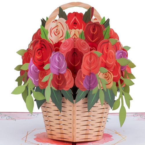 Basket of Roses Pop Up Card