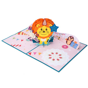 Lion Cub Birthday Pop Up Card, 3D Popup Greeting Cards