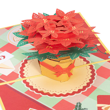 Poinsettia Christmas Flower Pop Up Card