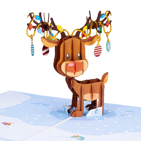 Reindeer Ornament Pop Up Christmas Card…