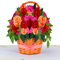 Roses Basket Pop Up Card