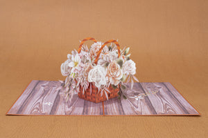 Rustic Flower Basket pop-up card