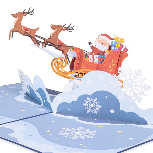 Santa Sleigh Pop Up Christmas Card