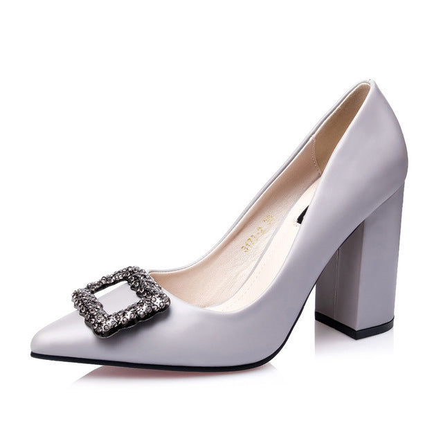 9b9e9a0275c8 New Pointed Toe Block Heels Rhinestone Shoes Woman Summer 2018 Breathable High  Heel Pumps Women Office Wedding Shoes