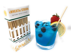 "sWHEATie STRAWs - Cocktail 5.5"" 100 pack - Natural Drinking Straws, Wheat Straws"