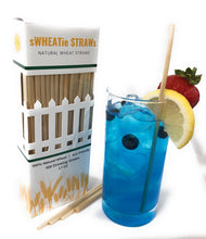 "Load image into Gallery viewer, sWHEATie STRAWs - Tall 7.5"" 100 pack - Natural Drinking Straws, Wheat Straws"