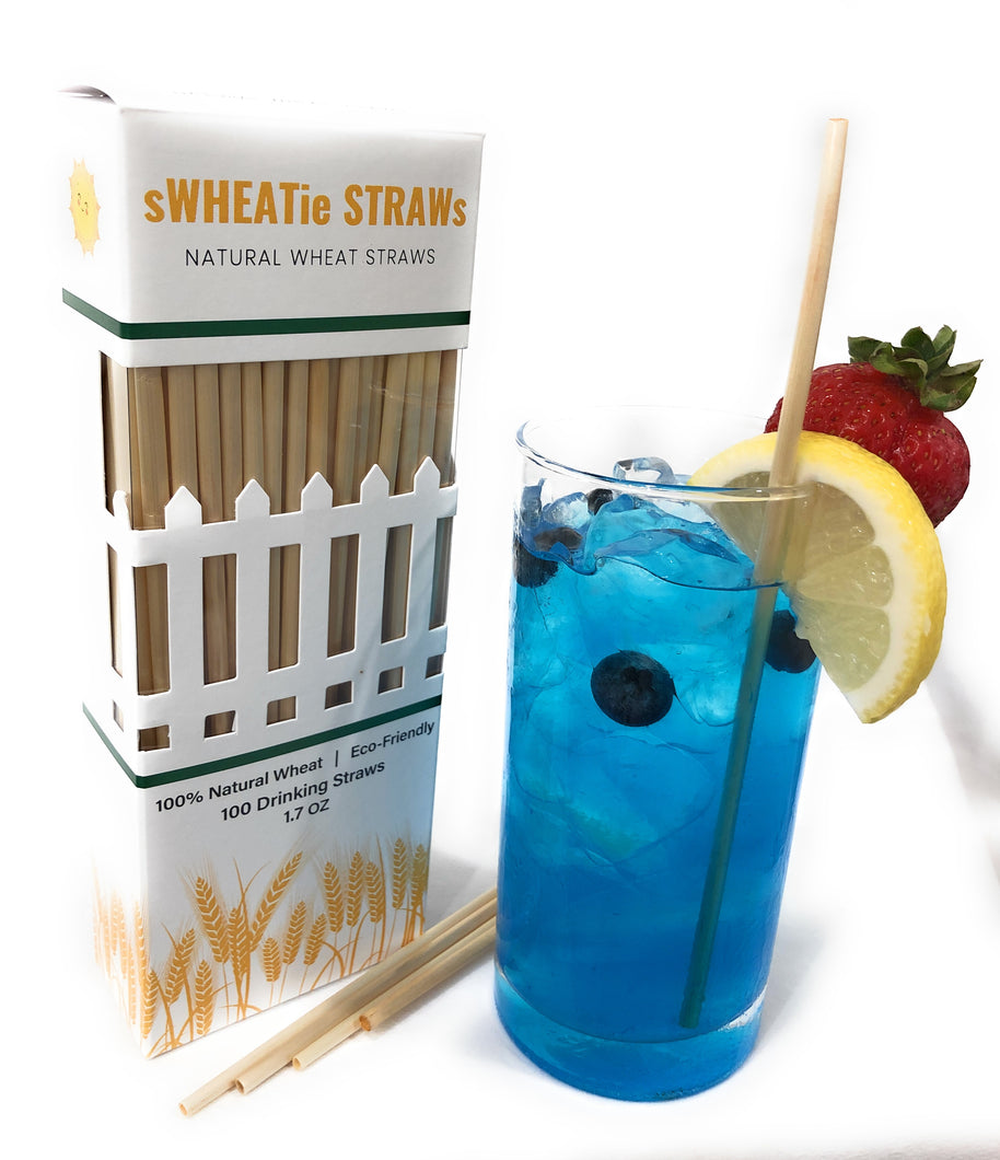 "sWHEATie STRAWs - Tall 7.5"" 100 pack - Natural Drinking Straws, Wheat Straws"