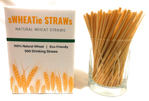 "sWHEATie STRAWs - Cocktail 5.5""  500 pack - PERFECT FOR BUSINESS!  Natural Drinking Straws, Wheat Straws, Single-use, Disposable"