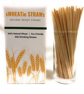 "sWHEATie STRAWs - Tall 7.5""  500 pack - PERFECT FOR BUSINESS!! Natural Drinking Straws, Wheat Straws, Single-use, Disposable"