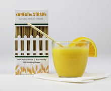 "Load image into Gallery viewer, sWHEATie STRAWs - Cocktail 5.5"" 100 pack - Natural Drinking Straws, Wheat Straws"